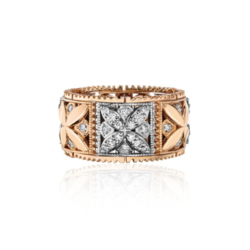 Jobo señora anillo 54mm infinito infinito 333 oro dorado bicolor con zirko